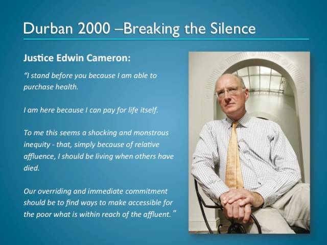 Justice Edwin Cameron breaks the silence.