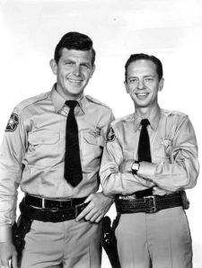 Barney Fife and Andy Taylor of Mayberry, modeled on Mt. Airy, just north of Winston-Salem, NC