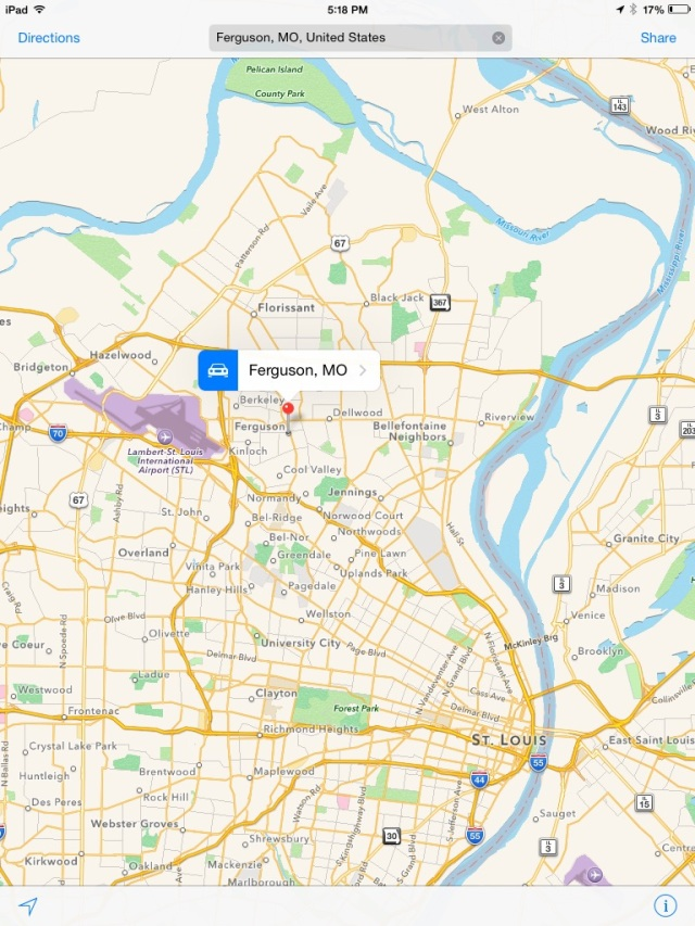 "Can you find Ferguson? It's just over to the right in between ""St. Louis International Airport"" and ""St. Louis."""