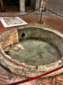 The oldest baptismal font in the West in the basement of the Cathedral of Naples. New life happened here since the 3rd century.