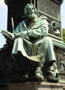 Statue of Peter Waldo at the Luther Memorial at Worms, Germany.